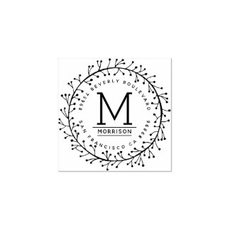 Modern Hand-drawn Baby's Breath Return Address Rubber Stamp