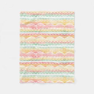Modern hand drawn beach watercolor aztec pattern fleece blanket