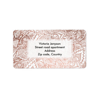 Modern hand drawn rose gold floral boho mandala label