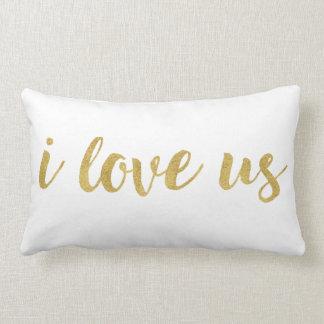 Modern Hand Lettered Gold I Love Us Decorative Lumbar Pillow
