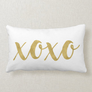 Modern Hand Lettered Gold XOXO Decorative Lumbar Cushion