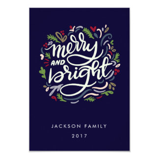 Modern Hand Lettered merry and Bright Holiday Card