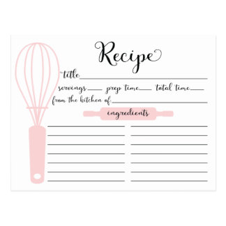 Modern Hand Lettered Pink Whisk Recipe Card Postcard