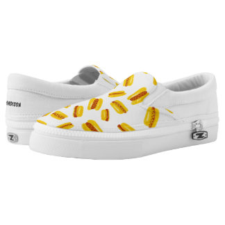 Modern hand painted hot dog food pattern slip on shoes
