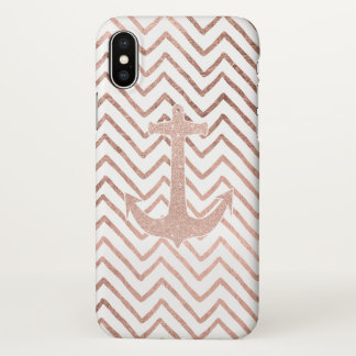 Modern handdrawn chevron rose gold nautical anchor iPhone x case