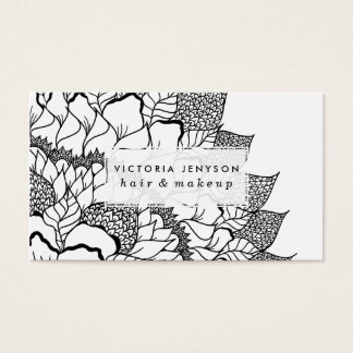 Modern handdrawn floral mandala black white business card