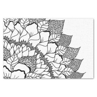 Modern handdrawn floral mandala black white tissue paper