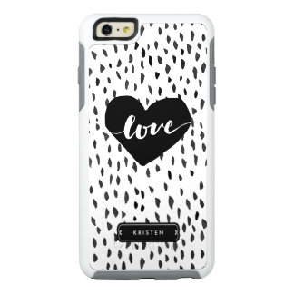 Modern Handdrawn Love Heart Black White Dots OtterBox iPhone 6/6s Plus Case