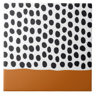 Modern Handpainted Polka Dots with Autumn Maple Ceramic Tile