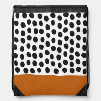 Modern Handpainted Polka Dots with Autumn Maple Drawstring Bag