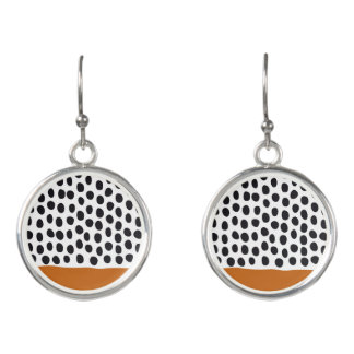 Modern Handpainted Polka Dots with Autumn Maple Earrings