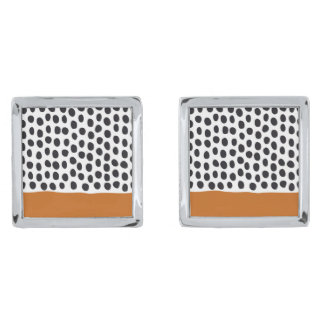 Modern Handpainted Polka Dots with Autumn Maple Silver Finish Cuff Links