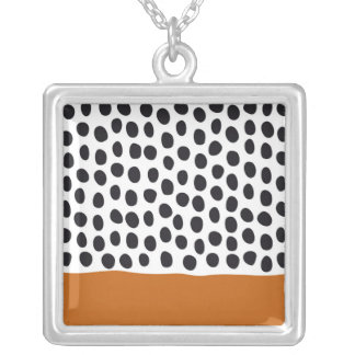 Modern Handpainted Polka Dots with Autumn Maple Silver Plated Necklace