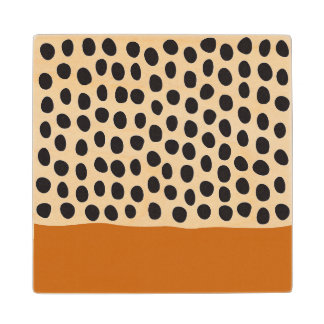 Modern Handpainted Polka Dots with Autumn Maple Wood Coaster
