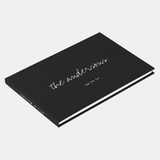 Modern Handwritten Black and White Wedding Guest Book