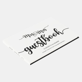Modern Handwritten Mrs. and Mrs. Wedding Guestbook