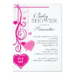 Modern Hanging Pink Hearts Baby Shower Custom Invite