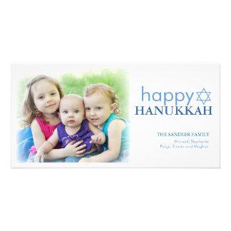 Modern Hanukkah Photo Holiday Greeting Card
