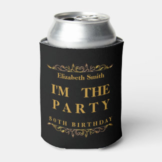 Modern Happy 50th Birthday Can Cooler