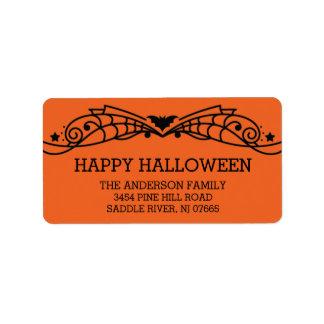 Modern Happy Halloween Bat Return Address Address Label