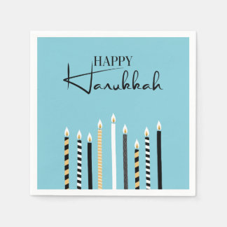Modern Happy Hanukkah Candles Holiday Napkins Paper Serviettes