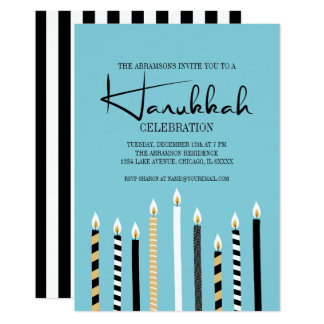 Modern Happy Hanukkah Candles Holiday Party Card