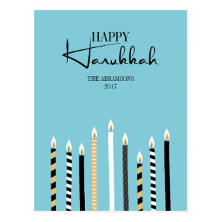 Modern Happy Hanukkah Candles Holiday Postcard