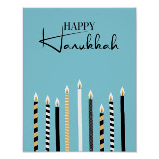 Modern Happy Hanukkah Candles Holiday Poster Sign
