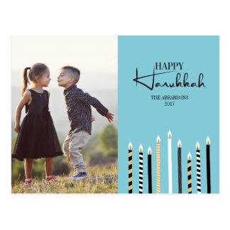 Modern Happy Hanukkah Candles Photo Postcard