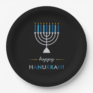 Modern Happy Hanukkah Silver Menorah on Black Paper Plate