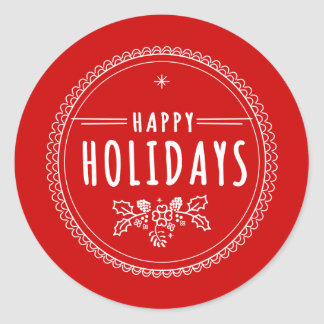 Modern Happy Holiday Round Red Christmas Sticker