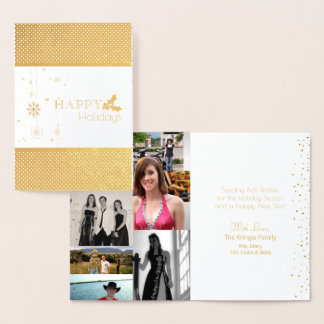 Modern Happy Holidays Gold Foil Photo Foil Card