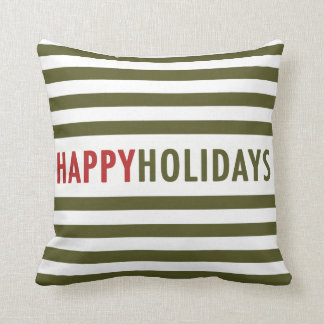 Modern Happy Holidays Green Stripes Holiday Pillow