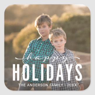 Modern Happy Holidays Photo Square Sticker