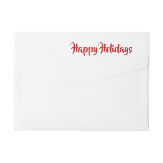 Modern Happy Holidays Red Script Wrap Around Label