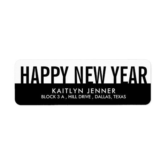 Modern Happy New Year | Typography Black And White Return Address Label
