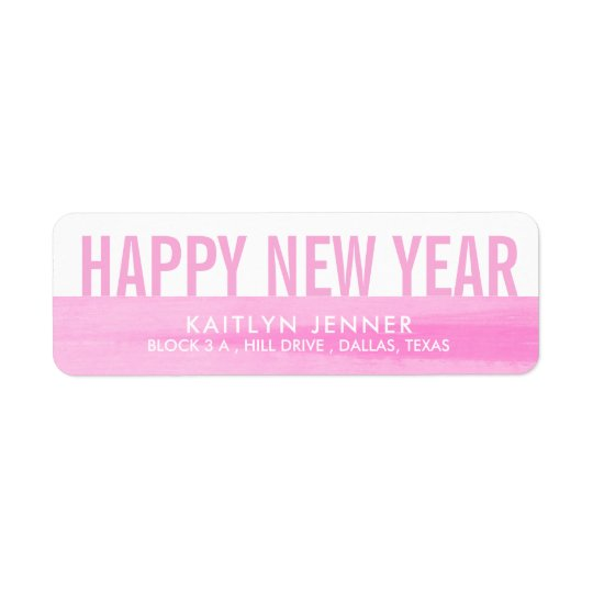 Modern Happy New Year | Typography Pink Whimsical Return Address Label