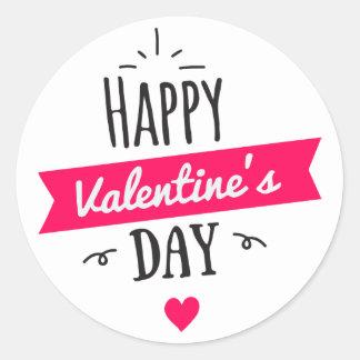 Modern HAPPY VALENTINE's DAY Pink White Heart Classic Round Sticker