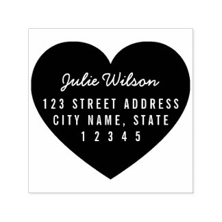 Modern Heart Background Personal Home Address Self-inking Stamp