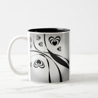 Modern Heart Design Two-Tone Coffee Mug