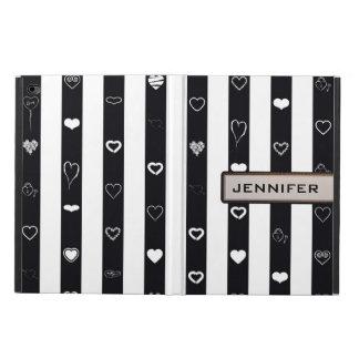 Modern Heart Elegant Black White Stripe Powis iPad Air 2 Case