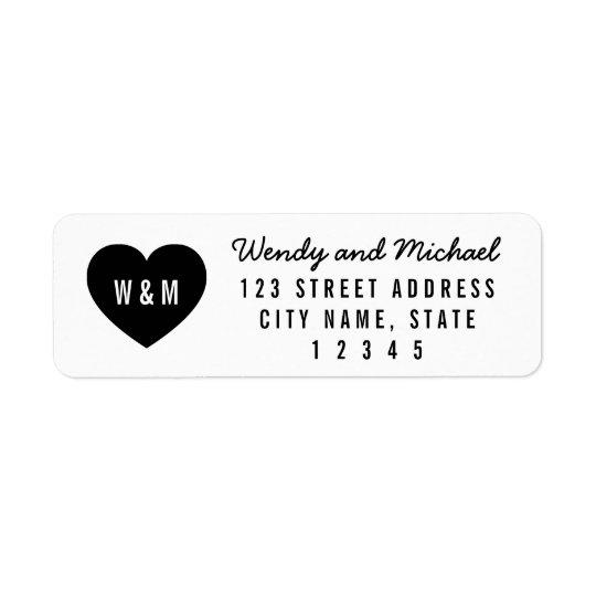 Modern Heart Monogram Couple Return Address Return Address Label