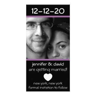 Modern Heart Save The Dates (Eggplant Purple) Custom Photo Card