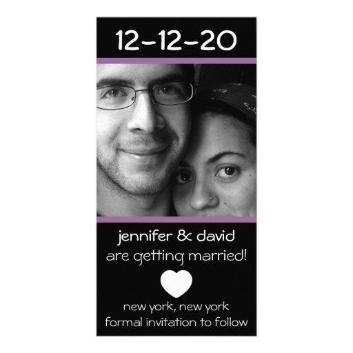 Modern Heart Save The Dates (Eggplant Purple) Photo Card Template