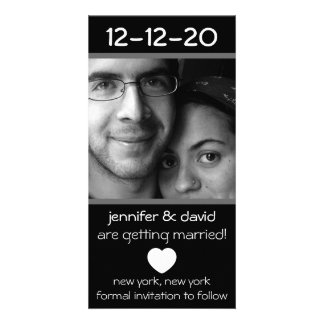 Modern Heart Save The Dates (Gray) Customized Photo Card