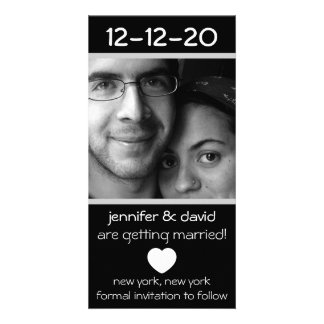 Modern Heart Save The Dates (Silver) Personalised Photo Card