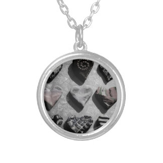 Modern Hearts Black, White, and Gray For Teen Girl Round Pendant Necklace