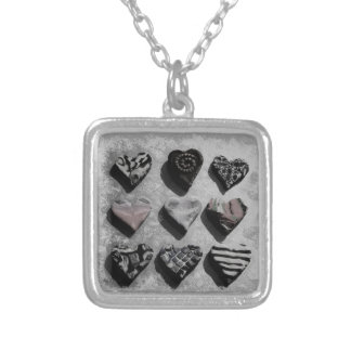 Modern Hearts Black, White, and Gray For Teen Girl Square Pendant Necklace