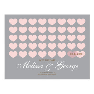 Modern Hearts Save the Date: Silver Postcard