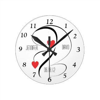 Modern Hearts & Swirls Wedding Custom Clock